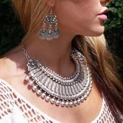 Aztec Coin Collar Necklace - Silver