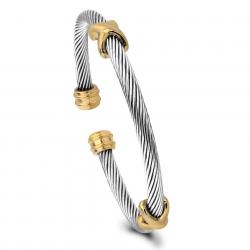 X-Factor Yurman Inspierd - Stainless Steel Cable Wire Cuff Bracelet