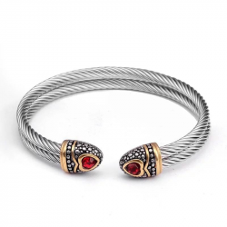 Bea Red - Cable Wire Cuff Bracelet