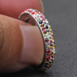 A 'Rainbow' Multicolor Rhinestone Stainless Steel Ring