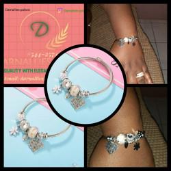 Crystal bangle charm bracelet