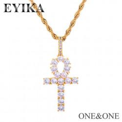 Cross pendant & gold silver brass chain